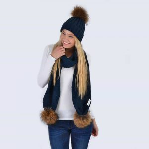 Navy Set with Brown Fur Pom Poms