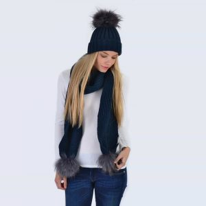 Navy Set with Grey Fur Pom Poms