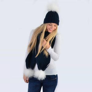 Navy Set with White Fur Pom Poms