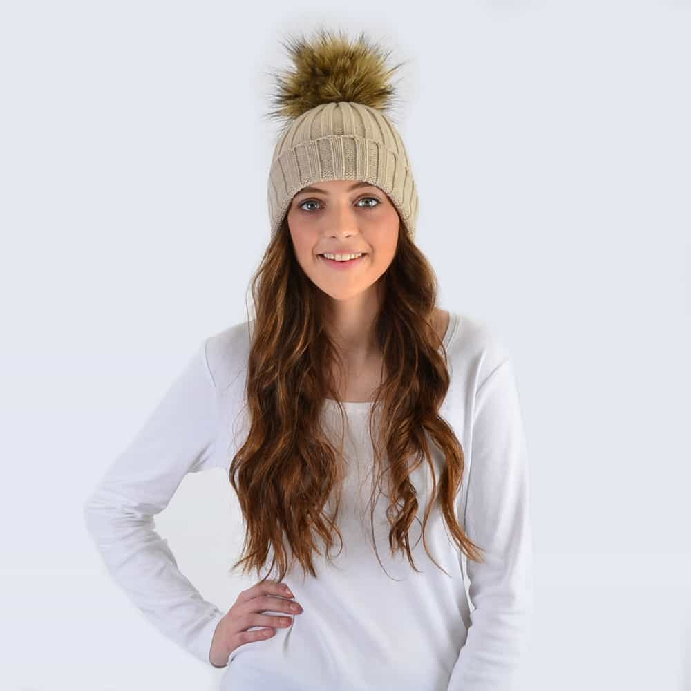Oatmeal Hat with Brown Faux Fur Pom Pom