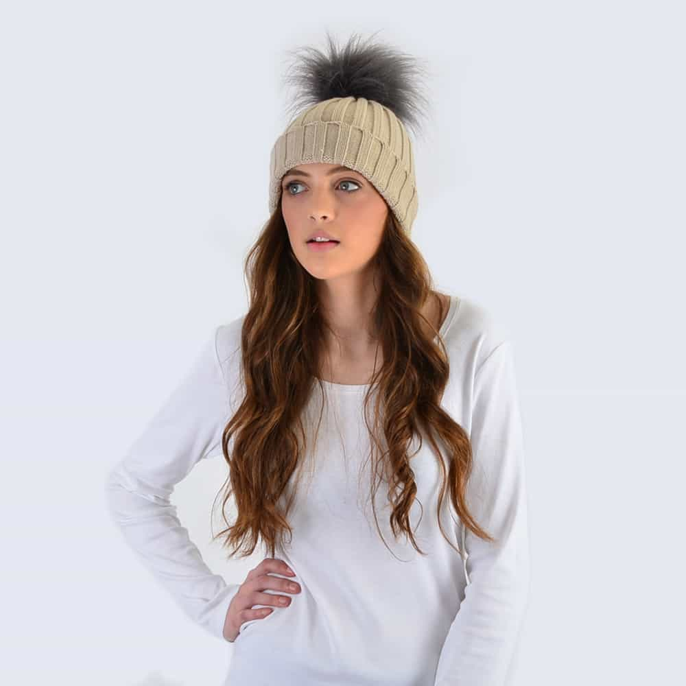 Oatmeal Hat with Grey Faux Fur Pom Pom