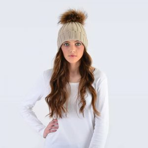 Oatmeal Hat with Brown Fur Pom Pom