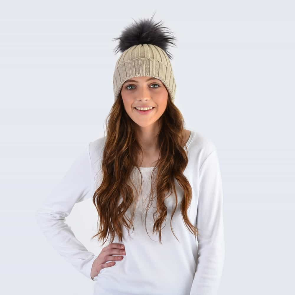 Oatmeal Hat with Grey Fur Pom Pom