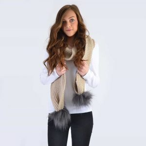 Oatmeal Scarf with Grey Faux Fur Pom Poms
