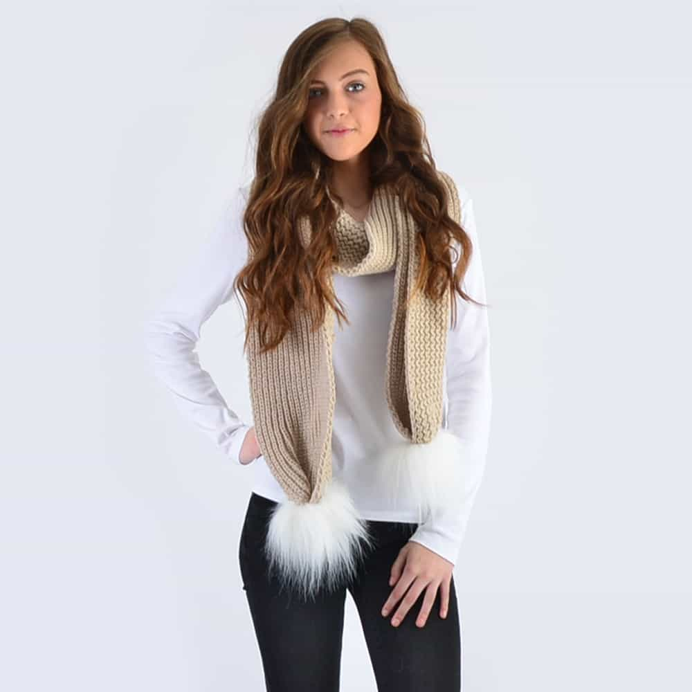 Oatmeal Scarf with White Faux Fur Pom Poms