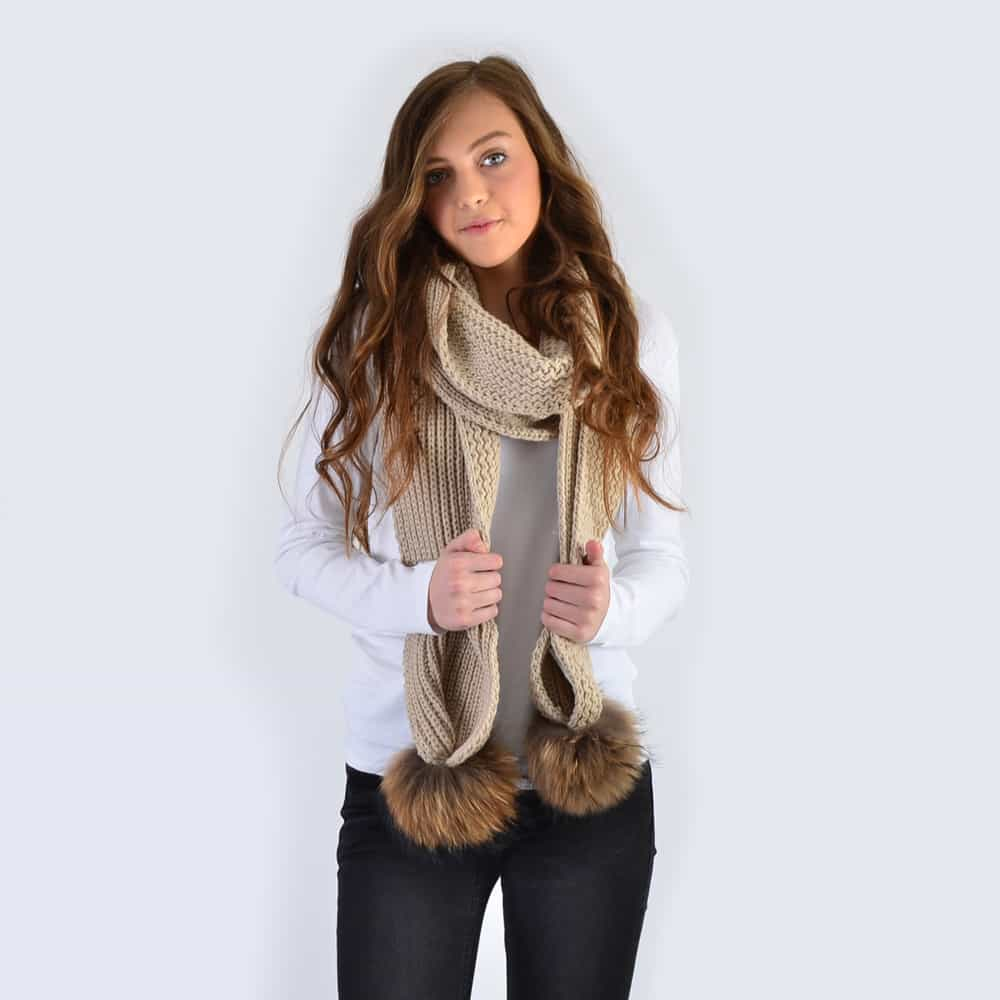 Oatmeal Scarf with Brown Fur Pom Poms