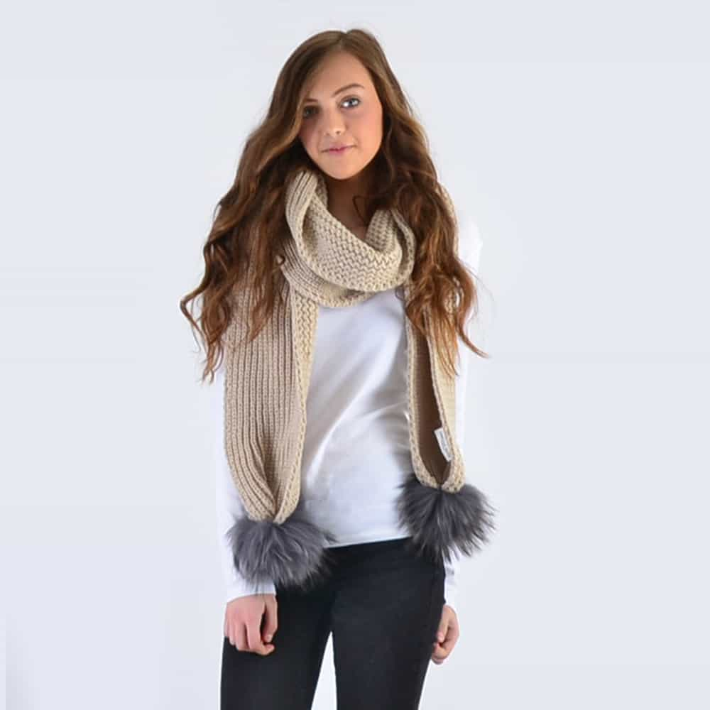 Oatmeal Scarf with Grey Fur Pom Poms