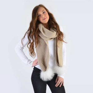 Oatmeal Scarf with White Fur Pom Poms
