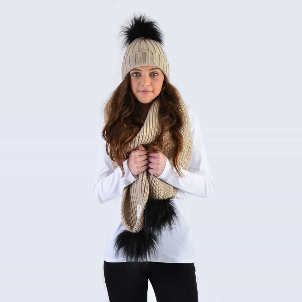 Oatmeal Set with Black Faux Fur Pom Poms
