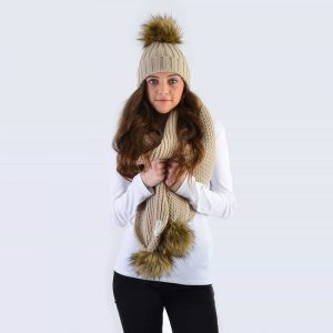 Oatmeal Set with Brown Faux Fur Pom Poms