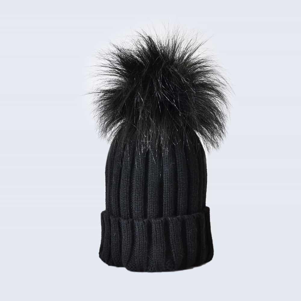 Black Hat with Black Faux Fur Pom Pom