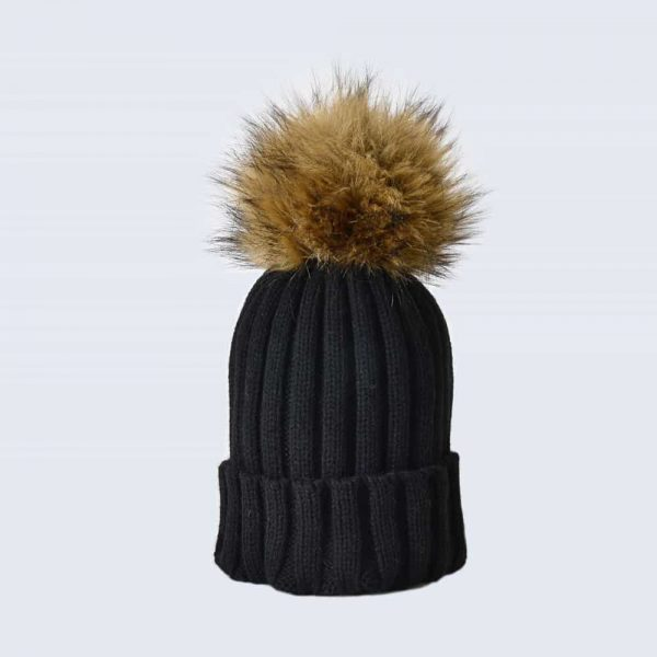 ec80b2969 Black Hat with Brown Faux Fur Pom Pom