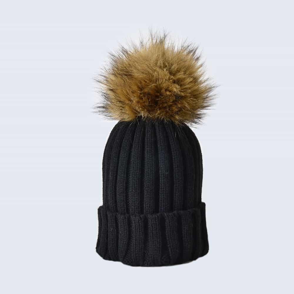 Black Hat with Brown Faux Fur Pom Pom