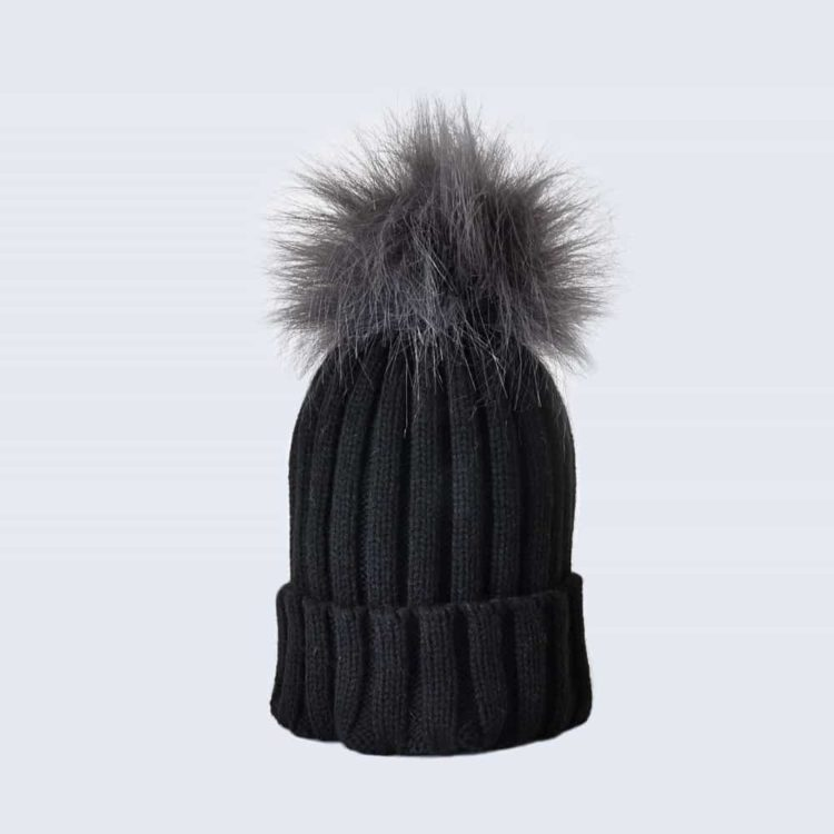 Black Hat with Grey Faux Fur Pom Pom