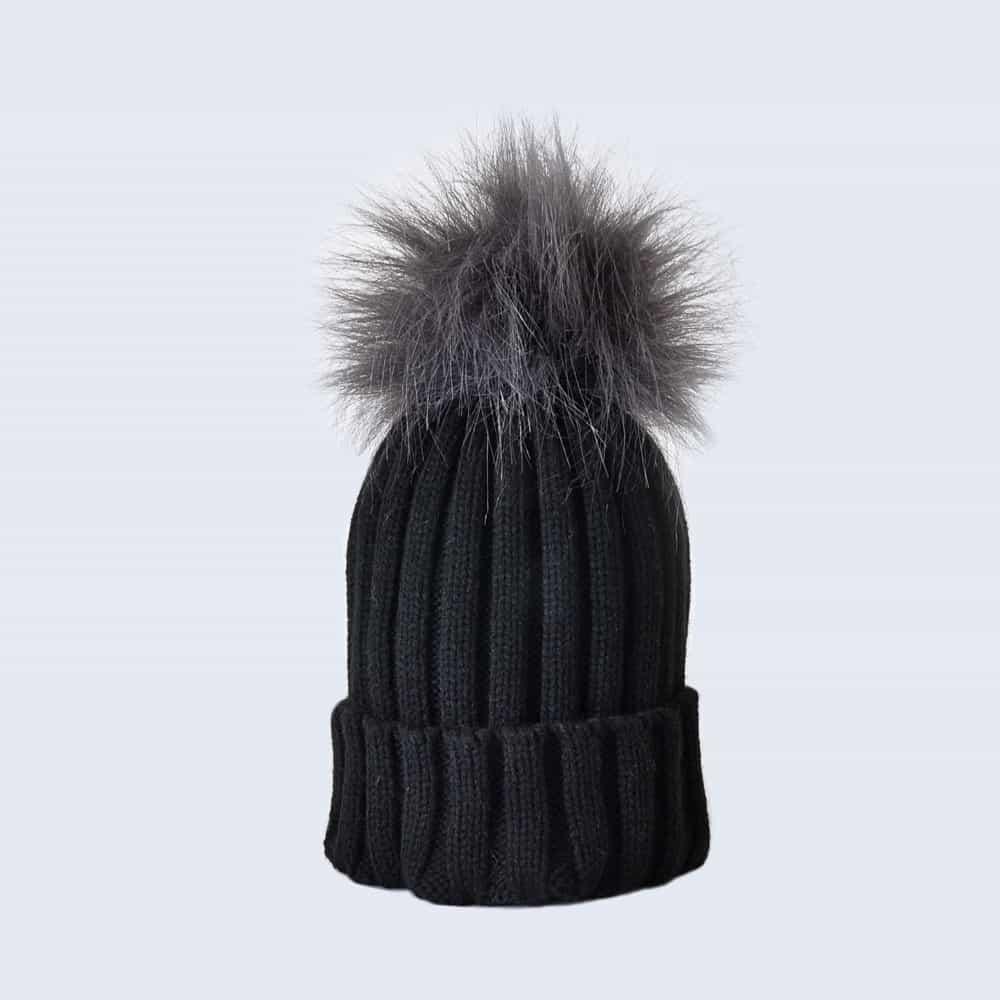Black Hat with Grey Faux Fur Pom Pom
