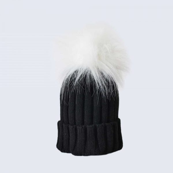 Black Hat with White Faux Fur Pom Pom