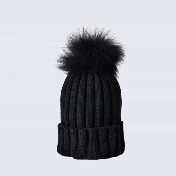 Black Hat with Black Fur Pom Pom
