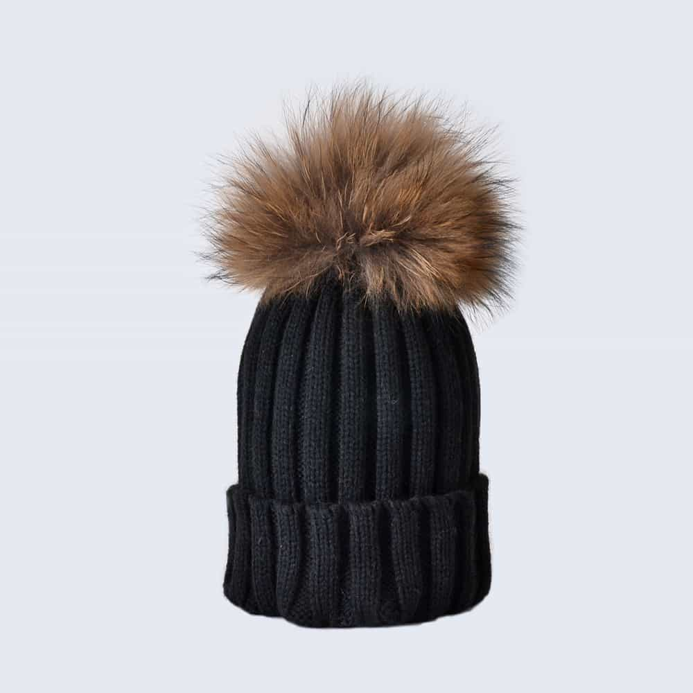 Black Hat with Brown Fur Pom Pom