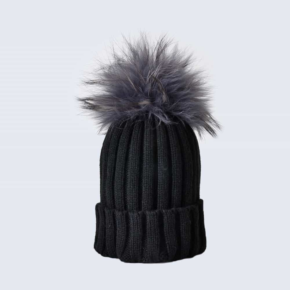 Black Hat with Grey Fur Pom Pom