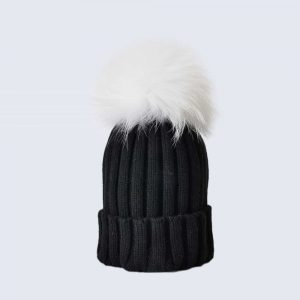 Black Hat with White Fur Pom Pom