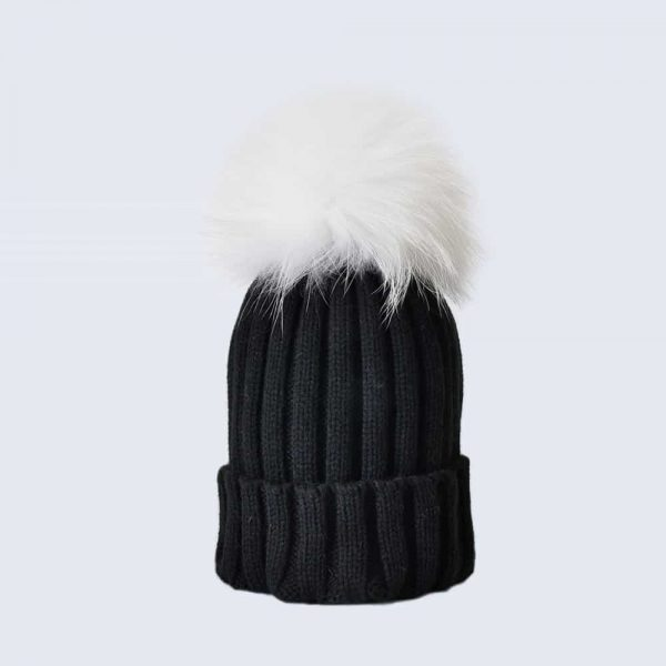 Black Hat with White Fur Pom Pom » Amelia Jane London 3121e643642