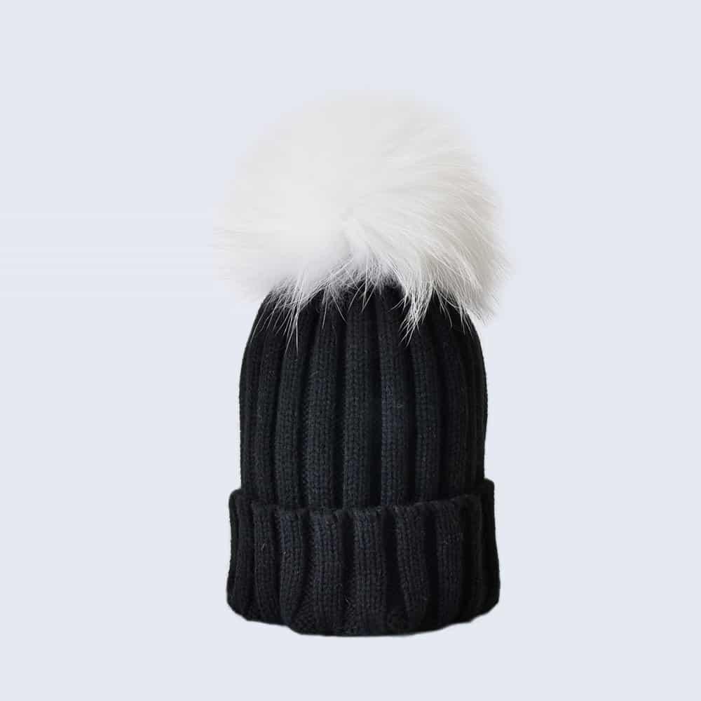 Black Hat with White Fur Pom Pom