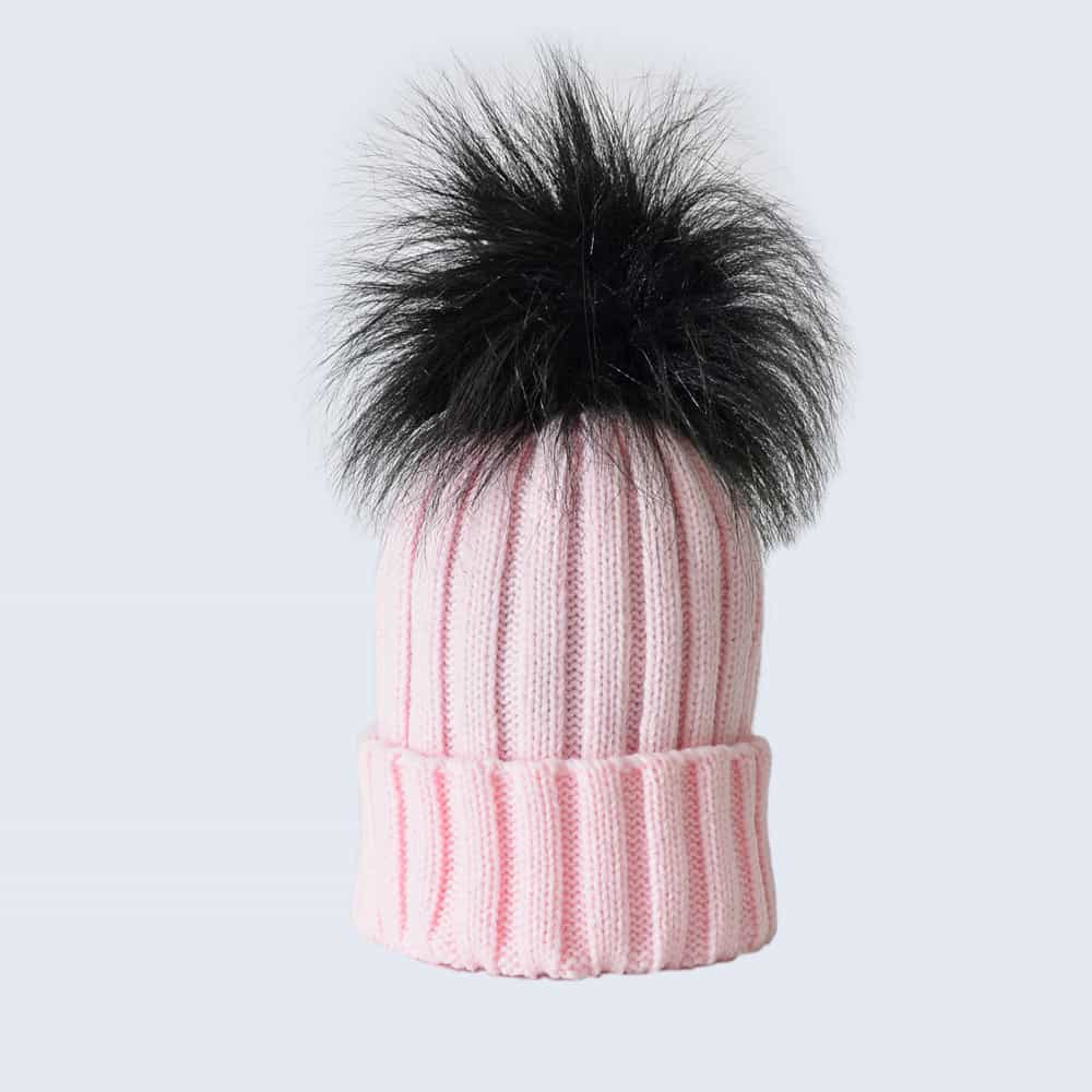 Candy Pink Hat with Black Faux Fur Pom Pom