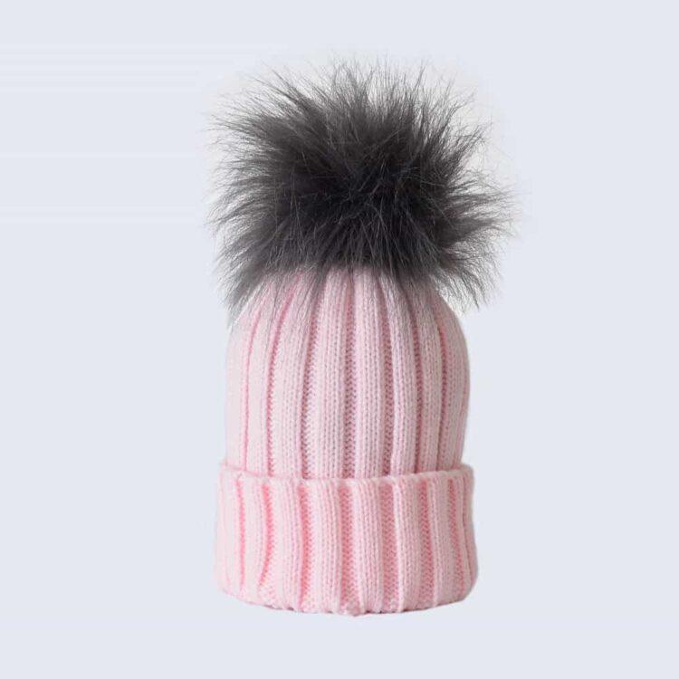 Candy Pink Hat with Grey Faux Fur Pom Pom