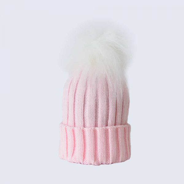 Candy Pink Hat with White Faux Fur Pom Pom