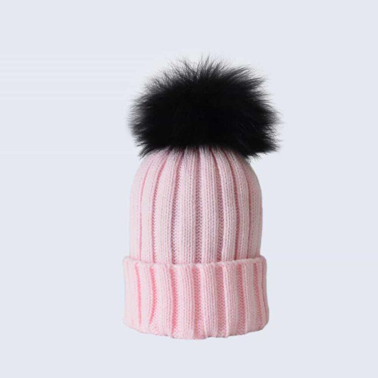 Candy Pink Hat with Black Fur Pom Pom