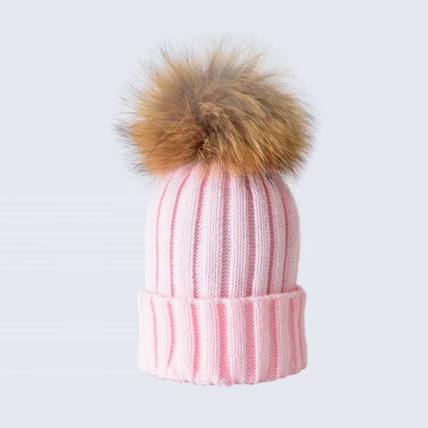 Candy Pink Hat with Brown Fur Pom Pom