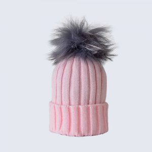 Candy Pink Hat with Grey Fur Pom Pom