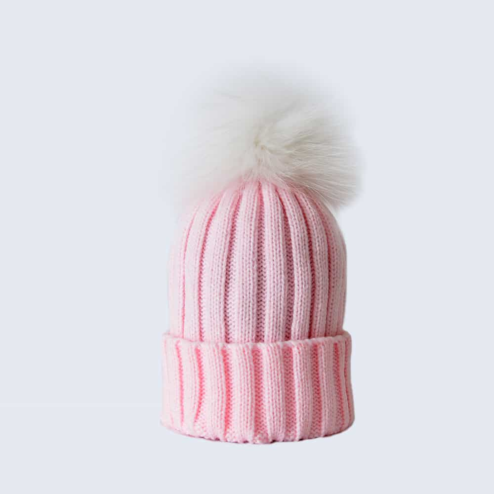 Candy Pink Hat with White Fur Pom Pom » Amelia Jane London 9f175cf3675