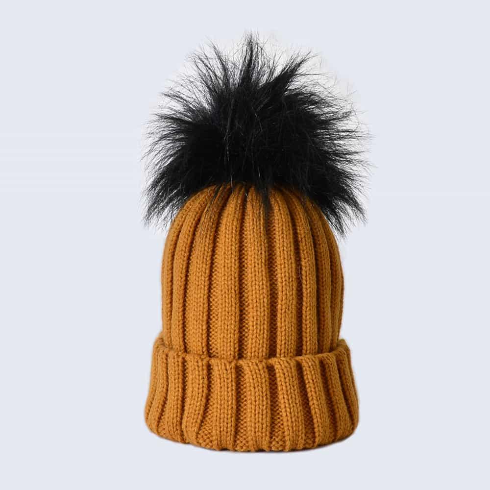 Caramel Hat with Black Faux Fur Pom Pom
