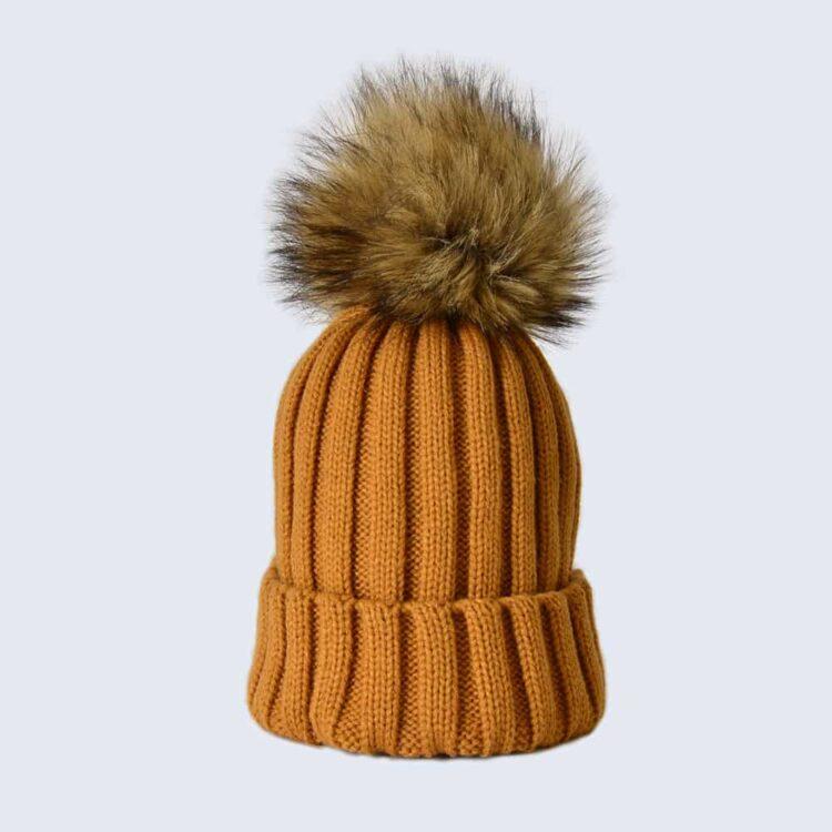 Caramel Hat with Brown Faux Fur Pom Pom