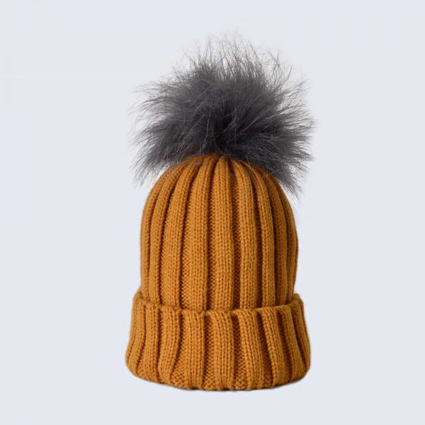 Caramel Hat with Grey Faux Fur Pom Pom