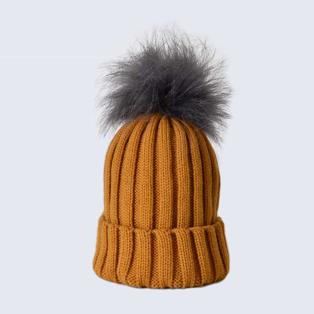 Caramel Hat with Grey Faux Fur Pom Pom