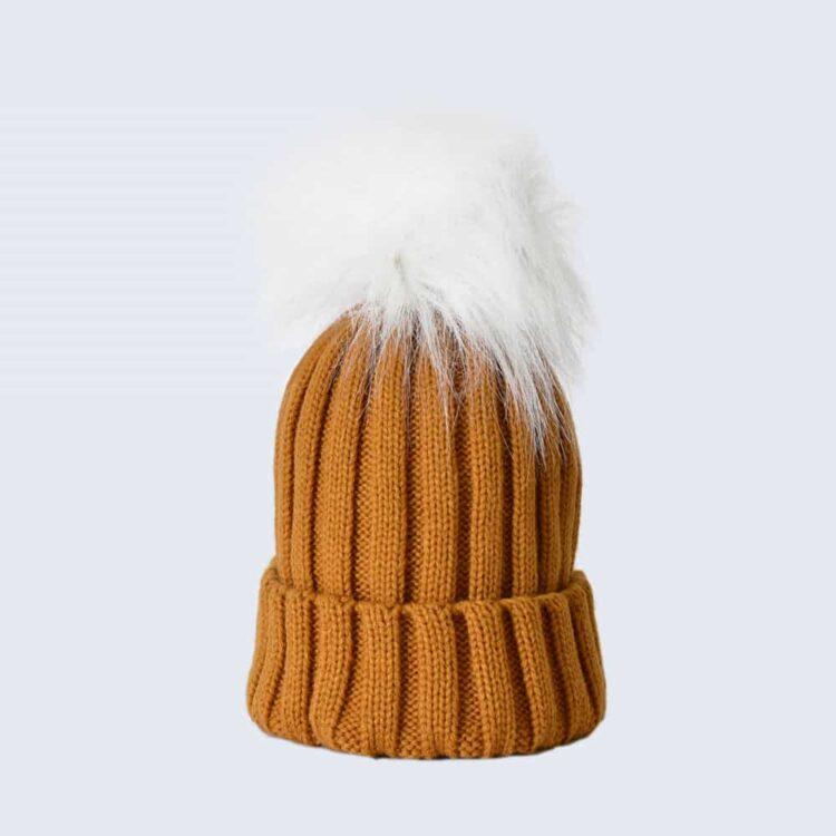 Caramel Hat with White Faux Fur Pom Pom