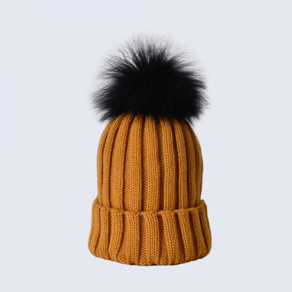 Caramel Hat with Black Fur Pom Pom