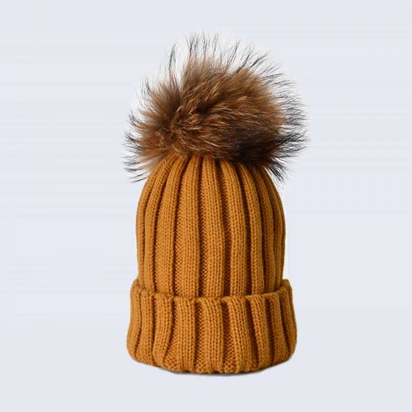 Caramel Hat with Brown Fur Pom Pom
