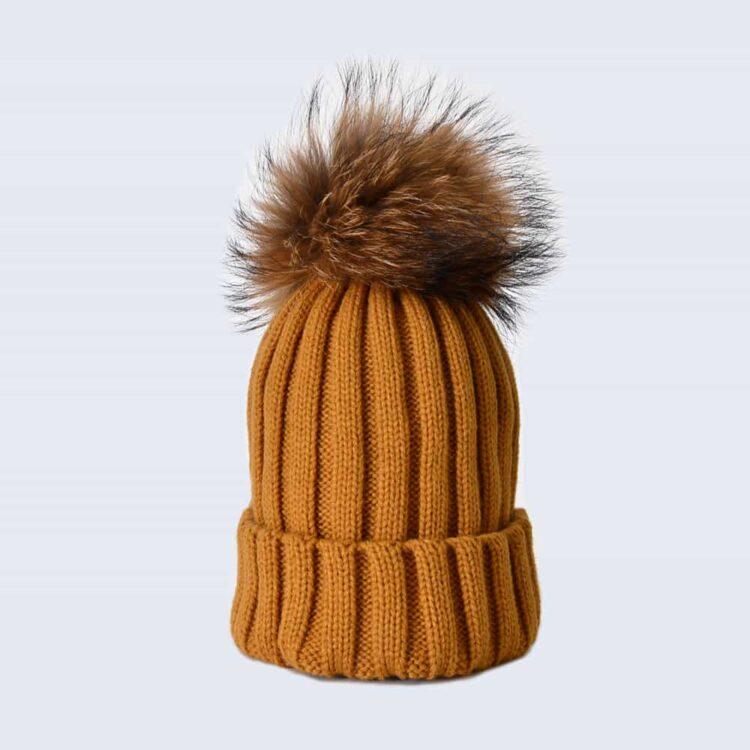 Caramel Hat with Brown Fur Pom Pom