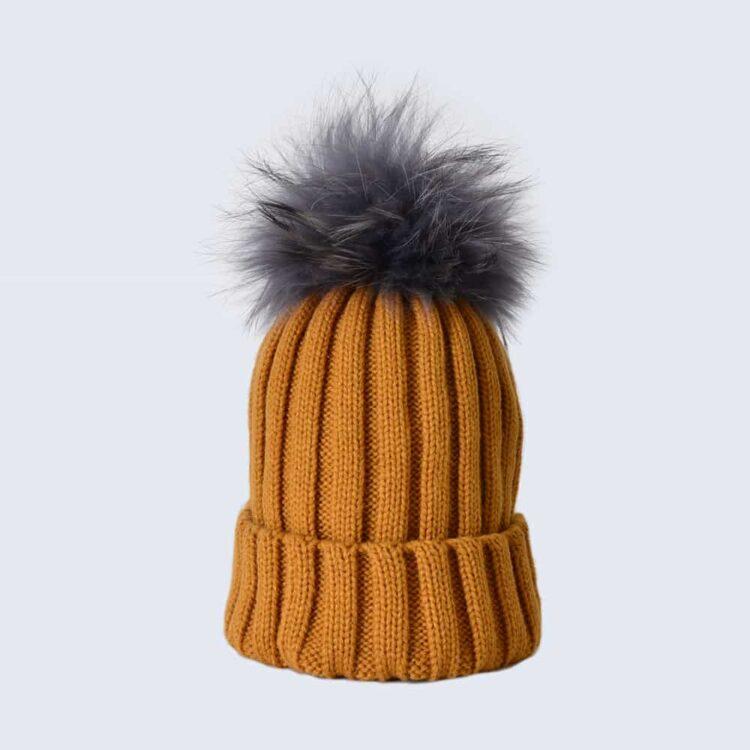 Caramel Hat with Grey Fur Pom Pom
