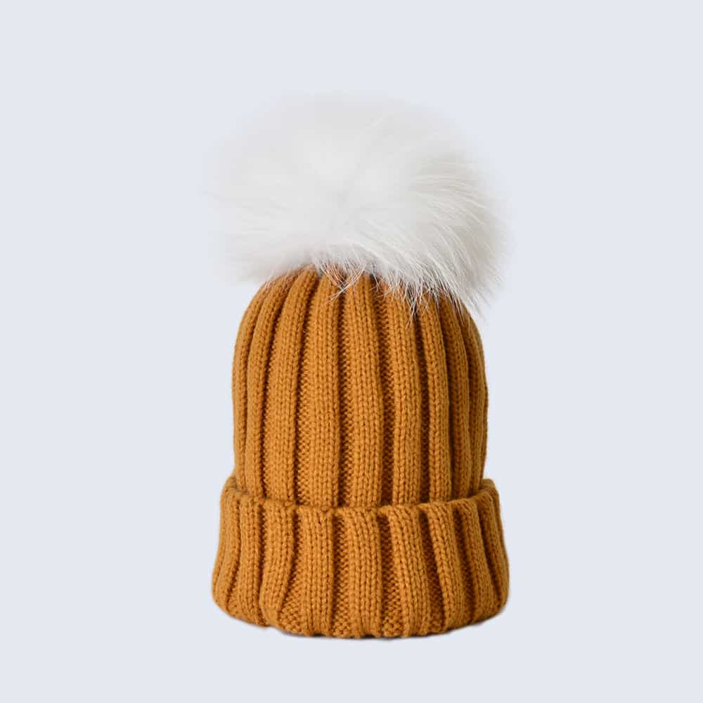 Caramel Hat with White Fur Pom Pom