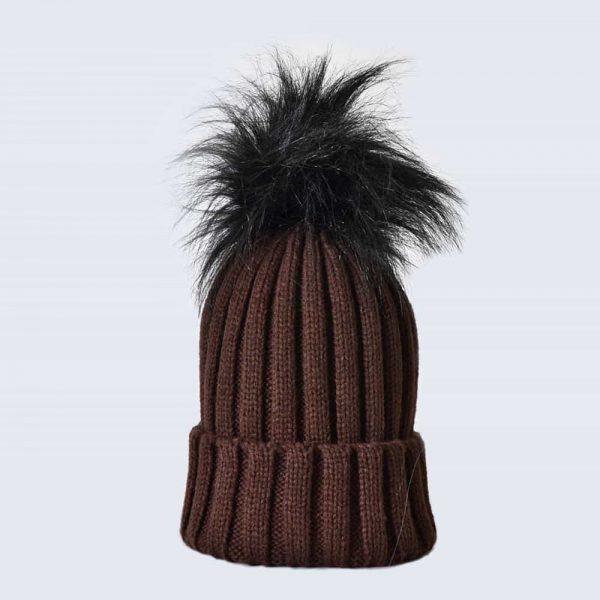 Chocolate Hat with Black Faux Fur Pom Pom