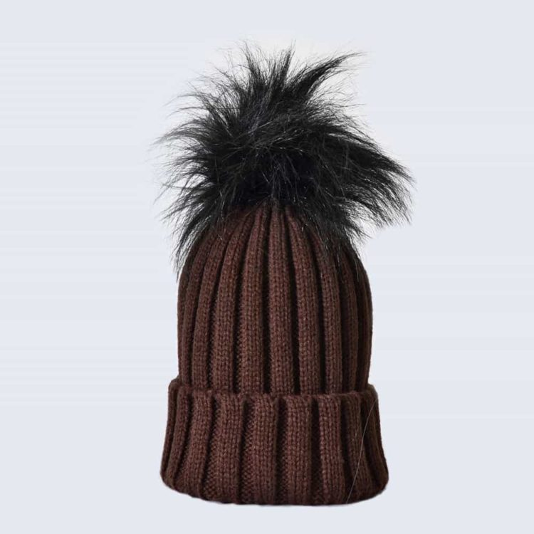 Chocolate Hat with Black Faux Fur Pom Pom