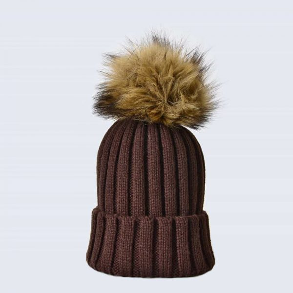 Chocolate Hat with Brown Faux Fur Pom Pom