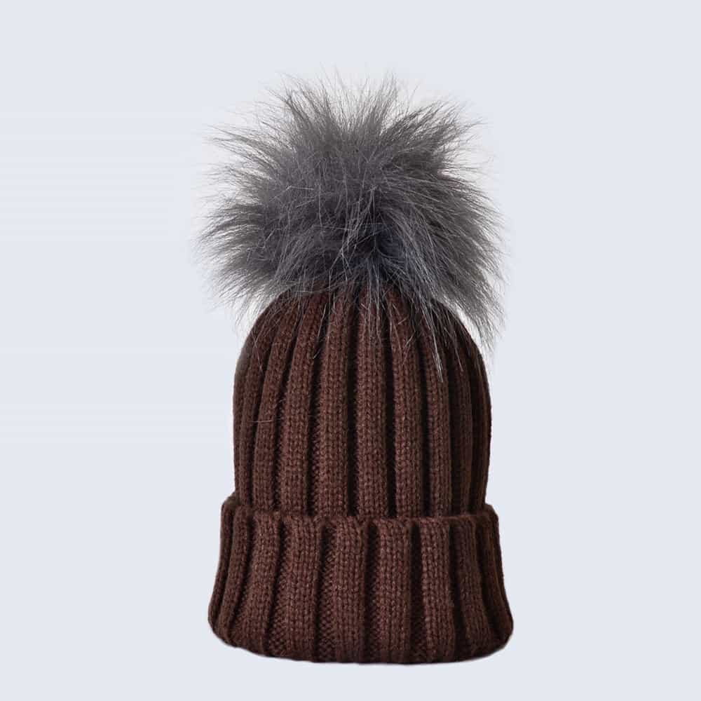 Chocolate Hat with Grey Faux Fur Pom Pom