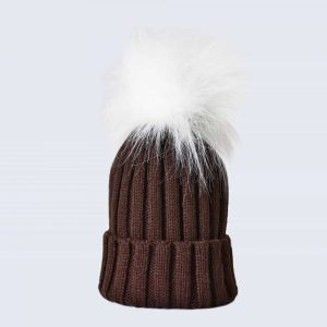 Chocolate Hat with White Faux Fur Pom Pom