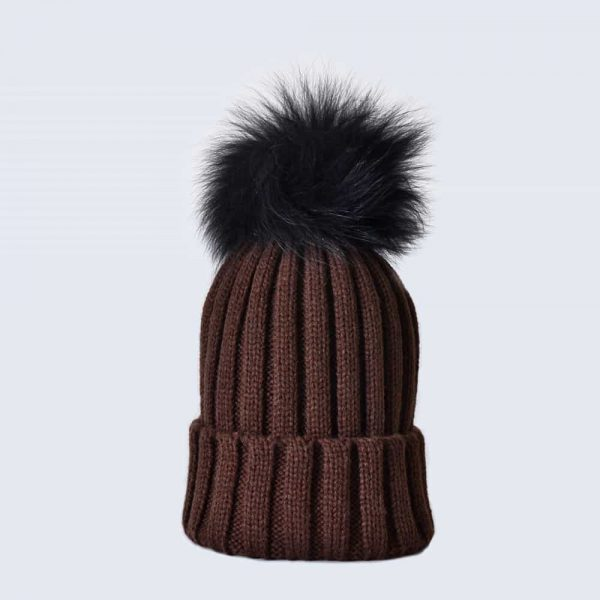 Chocolate Hat with Black Fur Pom Pom