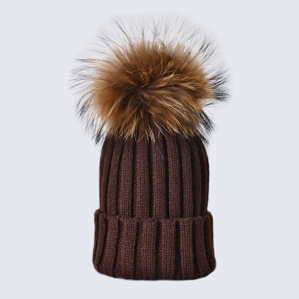 Chocolate Hat with Brown Fur Pom Pom
